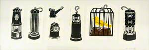 Coal Mining Lamps and Caged Canary