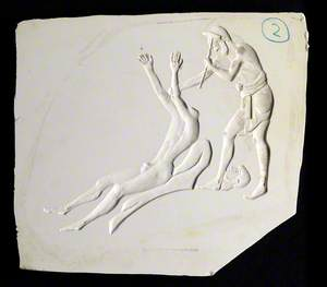 Ancient Greek Sculptor Using a Hammer to Chase the Bronze Figure of a Man