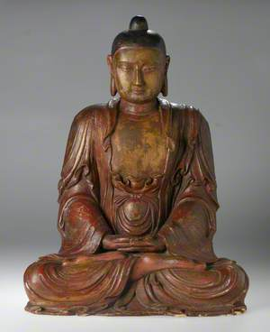 Red and Gold Buddha in Meditation*