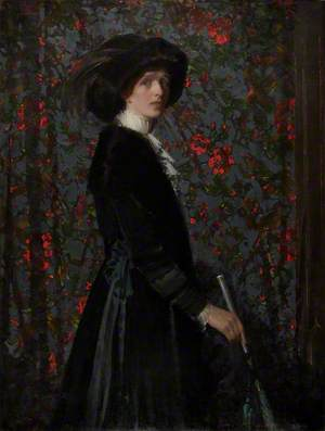 Lady in Black, with a Floral Background
