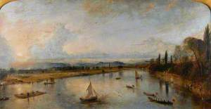 View from the Bridge – of the North Inch and part of the Fair City of Perth, with the River Tay and the distant Grampians – Evening