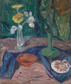 Still Life with Flowers in a Rose Glass