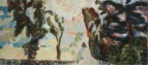 Landscape with Fir Trees and Sun