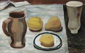 Two Pots, Saucer and Fruit