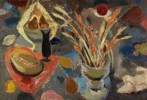 Still Life with Scattered Fruit and Grasses