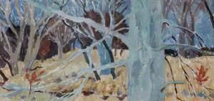 Woodland Landscape, Blue Tree