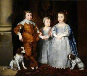 The Three Youngest Children of Charles I (Charles, James and Mary) with Their Dogs