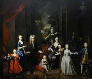 Walter Aston (1661–1744), 4th Lord Aston, His Wife Mary and Their Seven Children