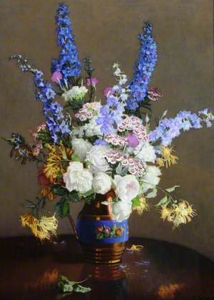 Delphiniums and Roses