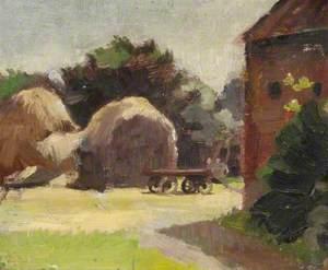 Outdoor Sketch with Haystacks