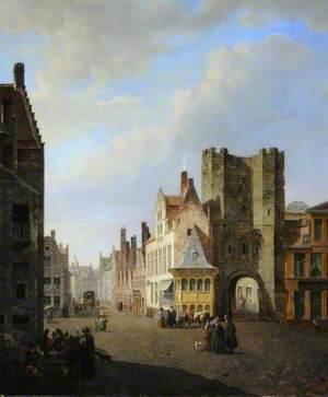 The Gravensteen Gate and the Sint Veerleplein in Ghent, Belgium