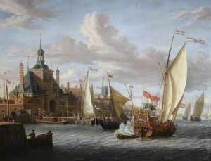 A Zeeland States Yacht Firing a Salute off the Oude Hooftdpoort, Rotterdam, The Netherlands