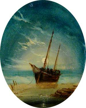 Ship on a Beach by Moonlight