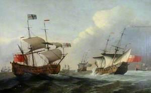Naval Vessels in a Rough Sea