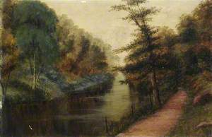 Wooded Riverside with a Path