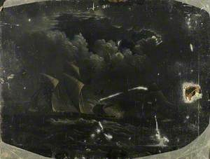 Pirate Brig Fleeing from a Merchant Navy Vessel Sailing by Moonlight