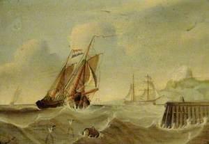 Dutch Herring Buss Sailing into Port