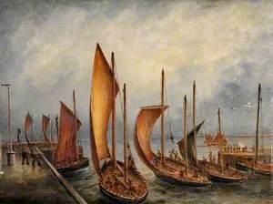 Scotch Herring Boats Leaving Bridlington Harbour, East Riding of Yorkshire, 22 September 1897