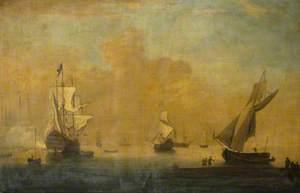 English Men-O'-War Near the Coast