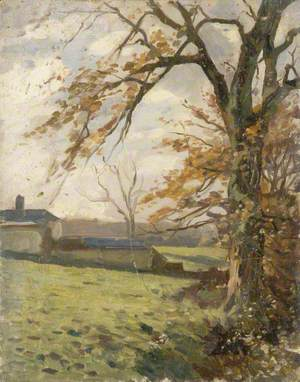 Autumnal Trees and Farm Buildings