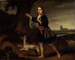 A Young Boy with His Dog in a Landscape