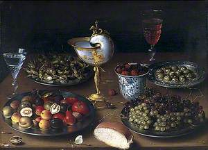 Still Life with Nautilus Cup, Fruit, Nuts and Wine