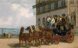The Brighton to London Coach by the Royal Albion Hotel