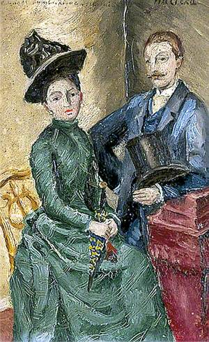 Man Standing Beside a Seated Woman
