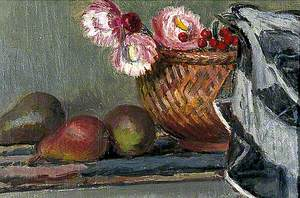 Still Life of Pears and Everlasting Flowers