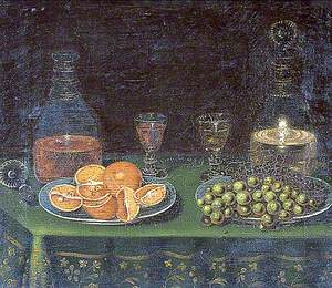 Still Life of Fruit with Decanters and Glasses