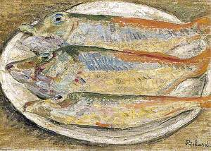 Still Life of Three Fish on a Plate