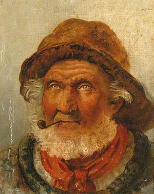 Old Fisherman with a White Beard Smoking a Pipe