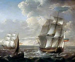 Dutch Man of War and Frigate