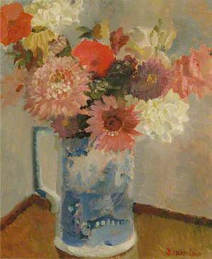 Flowers in a Blue and White Jug