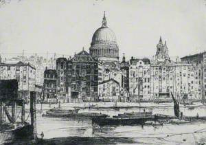 St Paul's with Thames and Barges