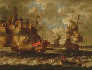 Dutch Men O'War in a Squall off a Coastal Town