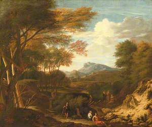 Arcadian Landscape with Shepherd and Other Pastoral Figures in the Background