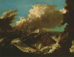 Storm and Shipwreck (British and Dutch Men O'War Floundering in a Gale off a Rocky Coast)