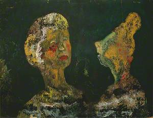 Two Female Portraits on a Dark Background