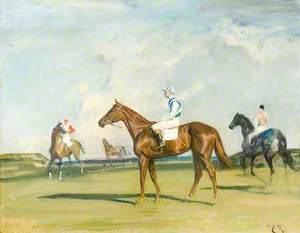 'Happy Laughter', a Chestnut Racehorse, with Jockey up in a Landscape