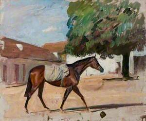 Study of a Bay Filly in a Newmarket Yard
