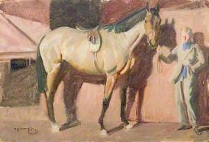 A Light Bay Horse with a Stable Boy