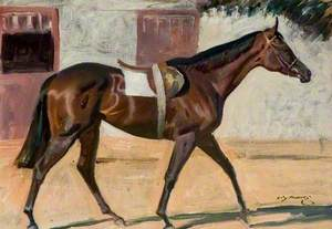 A Bay Racehorse by a Stable