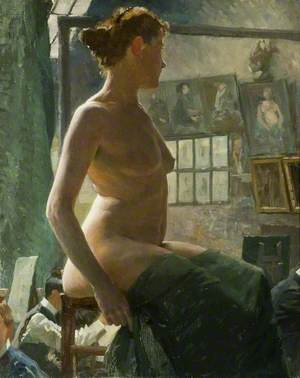 A Female Nude Seated at Julian's Atelier, Rue du Dragon