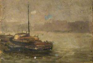 A River Scene with a Tug