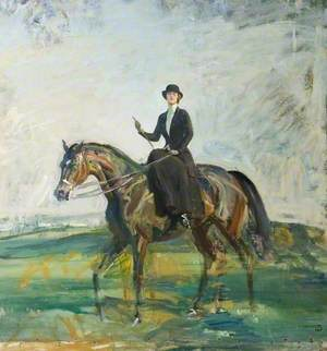 Lady Munnings Riding a Bay Hunter