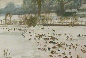 A Winter Scene at Castle House with Birds in the Foreground