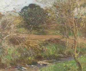 A Pastoral Scene with Trees and a Stream in the Foreground