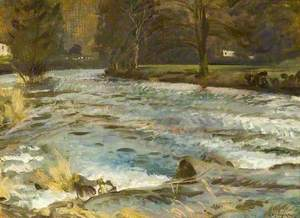 A River Scene with Trees