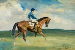 A Racehorse with Jockey up, Wearing Blue with Yellow Ribbon